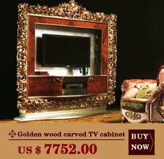 Madeira dourada esculpida gabinete de TV