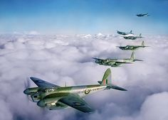 De Havilland Mosquito B IVs of No 139 (Jamaica) Squadron RAF Bomber Command, flying in formation - 10 February 1943.