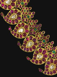 A diamond, ruby and emerald-set gold Manga Malai necklace, Tamil Nadu, 19th century | lot | Sotheby's