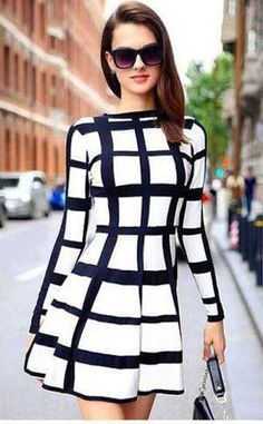Sedlkova 2017 New Autumn Women Black-White Plaid Short Bandage Dresses Suit Female Clothing Girls Vestidos Bodycon Party Dresses White A Line Dress, White Long Sleeve Dress, The Dress, Dress Long, Dress Black, Cute Dresses, Dresses With Sleeves, Sleeve Dresses, Work Dresses