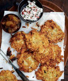 Curried Sweet Potato, Carrot, And Parsnip Latkes With Harissa Yogurt ...