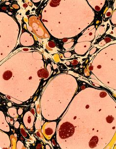 Modern 20th c. marbled paper, Turkish pattern - Don Guyot