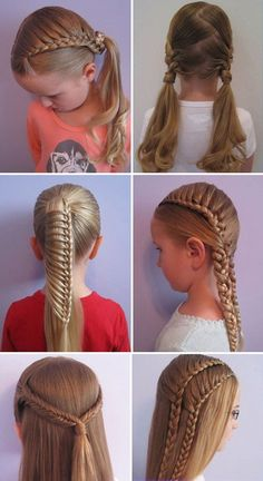 Cute And Easy Hairstyles For School : Simple Hairstyle Ideas For Women and Man - Peinados Little Girl Hairstyles, Hairstyles For School, Everyday Hairstyles, Creative Hairstyles, Trendy Hairstyles, Braided Hairstyles, Hair Creations, Braids For Long Hair, Hair Dos