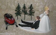 HUMOROUS-Winter-Wonderland-Sport-RED-SNOWMOBILE-Wedding-Cake-Topper