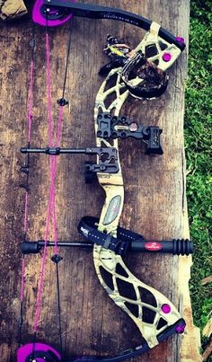 Bowtech bow. Pretty sure this is the Carbon Rose. I honestly hate the black ones. The camo + purple, though, I don't mind so much.