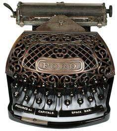Ford typewriter - 1895   The Ford typewriter was designed by E.A. Ford and introduced in 1895.  The Ford is a thrust-action machine, i.e. the type is 'pushed' forward against the platen on hitting a key .   Rare as product was failure on market.