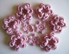 Crochet Cashmere Flower Appliques - Pink - Set of 9. $12.00, via Etsy.