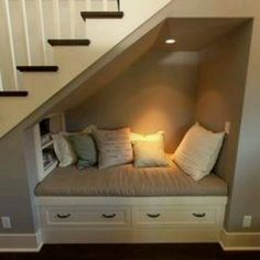 EVENTUALLY, if we knocked out the wall under the staircase in the basement, it could be exactly this. For now, we need the storage for kids toys haha