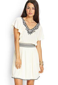 Embroidered Flutter Sleeve Dress | FOREVER21 - 2000125039