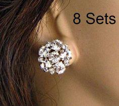 Set of 8, Crystal Post, stud Earrings, Bridesmaids Earrings, post earrings for Bridesmaids, Stud Post, Crystal or pearl, Crystal Studs on Etsy, $150.00