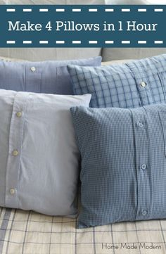 Sewing Men Projects Make 4 Shirt Pillows from Men's Shirts in Less Than 1 Hour Easy Sewing Projects, Sewing Projects For Beginners, Sewing Hacks, Sewing Tips, Sewing Tutorials, Learn Sewing, Sewing Basics, Sewing Ideas, Sewing Patterns
