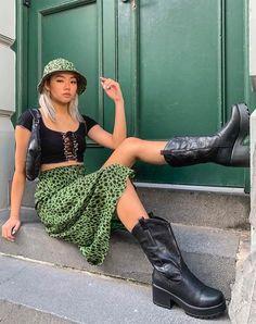 Saika Midi Skirt in Cheetah Khaki by Motel – motelrocks-com-eur Fashion 90s, Tokyo Street Fashion, Indie Fashion, Aesthetic Fashion, Aesthetic Clothes, Fashion Outfits, Fashion Skirts, Aesthetic Outfit, Funky Fashion