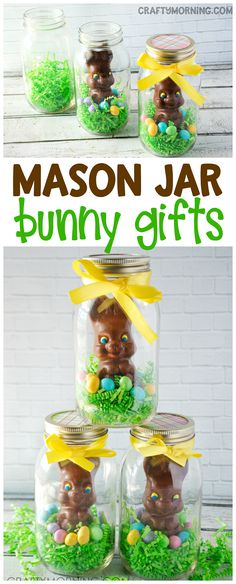 Mason jar chocolate easter bunny gift idea! What a cute craft to make for your kids or coworkers this easter.