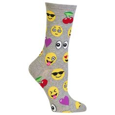 Black Patterned Women's Emoji Socks