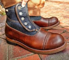 Elegant-Apparatus — button boots via 👍 Men's Shoes, Shoe Boots, Dress Shoes, Men Dress, Stylish Boots, Stylish Men, Leather Lace Up Boots, Leather Men, Boot Over The Knee