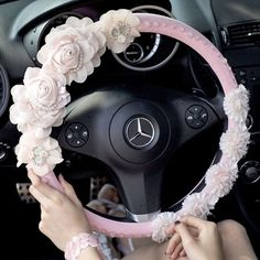 Omgosh!!! Fashion Luxury Pink Leather Flower Pearl and Crystal Steering Wheels Cover for Women. It's only 238 dollars.
