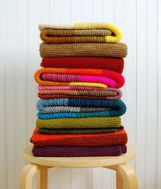 knitted baby blanket stash by purl bee. gorgeous colorways. would be so beautiful to knit a bunch & piece together for a large blanket. summer project?? hmmmm....