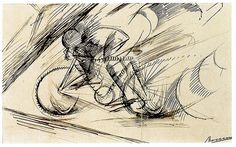 Umberto Boccioni Dynamism of a Cyclist, 1913 Ink on paper, 18 x 30 cm Estorick Collection, London From an exhibition at Estorick Collection of Modern Italian Art, see the Eye events page for more information and other graphic design events. Umberto Boccioni, Italian Futurism, Futurism Art, Lascaux, Bicycle Art, A Level Art, Oil Painting Reproductions, Cycling Art, Italian Art