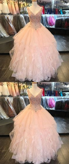 Pink tulle V neck long ruffles formal prom dress, sequins beaded evening dresses P0109 #promdresses #longpromdresses #2018promdresses #2018newstyles #fashions #styles #hiprom #ballgown #pink