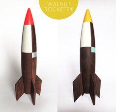 Walnut rocket wall decorations