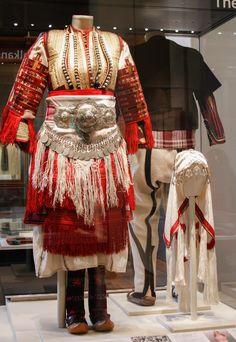 Non road notes: British Museum, Greek Traditional Dress, Traditional Fashion, Traditional Outfits, Folk Fashion, Ethnic Fashion, African Fashion, Folk Costume, Costume Dress, Costumes Around The World