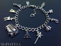 Harry Potter Books Charm Bracelet Deathly Hallows London Bus Snakes Witch Wizard