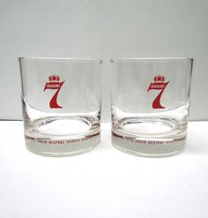 Pair of Vintage SEAGRAM'S 7 Whiskey Glasses - Collectible glasses - Home Decor by VINTAGEandMOREshop on Etsy https://www.etsy.com/listing/259419159/pair-of-vintage-seagrams-7-whiskey