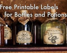 Vintage style old potion bottles with printable lables is a very popular Halloween craft. Make spooky Halloween decoration using old or recycled bottles and free printable potion or poison labels. Halloween Bottle Labels, Halloween Potions, Halloween Labels, Vintage Halloween, Halloween Pumpkins, Halloween Party, Halloween Ideas, Halloween 2019, Witch Party