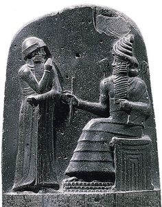 """Stele with the laws of Hammurabi (DETAIL), from Susa, Iran, Babylonian, ca. 1780 BCE. Basalt, 7'4"""" high."""