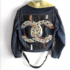 Chanel custom ROE BUCKS Denim Jacket 600 pearl Custom Chanel Logo jacket. Featuring side Zipper and 3 leather finishes. Will add more images as soon as possible. CHANEL Jackets & Coats Jean Jackets