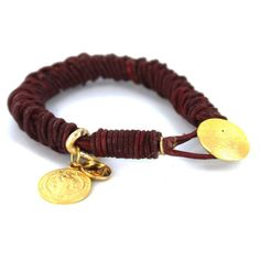 Braided Leather Bracelet with Gold Plated San Benito Charm -Red-