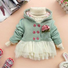 12m,18m,24m,3y,4y baby clothes baby girl clothes autumn spring winter coat kid blue pink coat gown