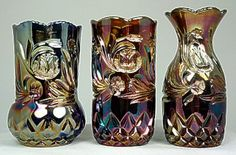 Western Thistle vases, blue - Moulded glass, centre is standard the others hand finished.