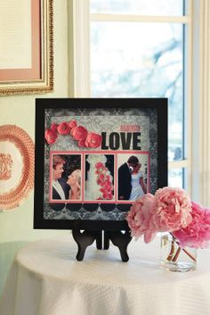 Bridal shower decor with engagement photos
