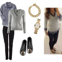 Grey sweater with denim or chambray shirt and black jeans