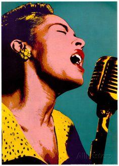 Billie Holiday, azul, arte pop, póster de música Lámina en AllPosters.es