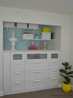 IKEA HACK- How to turn a standard closet into a built in for craft storage using IKEA dressers