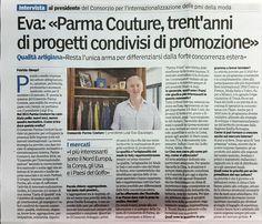 Intervista al Presidente di Parma Couture Luigi Eva, pubblicata sulla Gazzetta di Parma del 23/09/2015