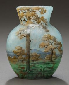 DAUM ETCHED AND ENAMELED GLASS SPRING LANDSCAPE CABINET VASE Circa 1910, Enamel: DAUM, NANCY and cross of Lorraine