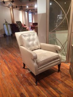 New Everett Buttoned Lounge Chair in luscious Vacona leather Wingback Chair, Armchair, Hickory Chair, New Market, October 2014, Industrial Furniture, Accent Chairs, Upholstery, Lounge