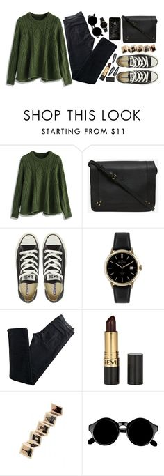 """""""See Me Now"""" by vogue-breakfast ❤ liked on Polyvore featuring Chicwish, Jérôme Dreyfuss, Converse, Dreyfuss & Co, Karl Lagerfeld, Revlon, Rock 'N Rose, Retrò and Forever 21"""