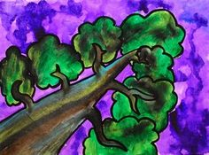 """Georgia O'Keefe ' """"The Lawrence Tree"""" grade one point perspective lesson worms eye view 6th Grade Art, Art Curriculum, Teaching Art, Teaching Ideas, Middle School Art, Arts Ed, Elements Of Art, Art For Kids, Kid Art"""