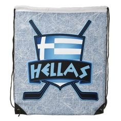 Greece #Hellas Ice Hockey Logo Drawstring Backpack.  Great for school, college, the gym, work! $18.95 each. To see more #hockey goodies, please check out my store: http://www.zazzle.com/gamefacegear*/