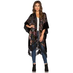 Line & Dot Fleur Kimono Jackets & Coats ($217) ❤ liked on Polyvore featuring outerwear, coats, coats & jackets, black kimono, polka dot coat, lined coat, tassel kimono and black coat