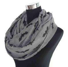 Grey Bat Print Infinity Loop Scarf Halloween Scarves, Women's Accessories Gift for Her by LinaScarf on Etsy https://www.etsy.com/listing/202415250/grey-bat-print-infinity-loop-scarf