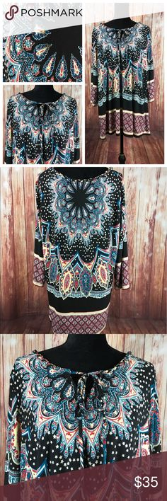 """Women's 3XL XXXL Tunic Blouse My COLLECTION Shirt Womens 3XL XXXL Tunic Blouse My COLLECTION Shirt EMBELLISHED Ladies Top Multicolor  All measurements are flat lay  Bust 27""""  Waist 26""""  Sleeve length 21""""  GC11B9 my collection Tops Blouses"""