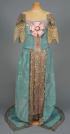 CALLOT SOEURS MOIRE SILK EVENING GOWN with METALLIC LACE, c. 1912.  Clearly a 16th century inspired fancy dress.