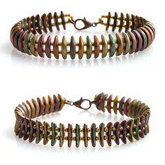 Crescent beads bracelet  kacenkag / Mesačný v jesenných farbách - obojstranný