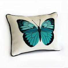 turquoise butterfly modern needlepoint kit - diy. $120.00, via Etsy.