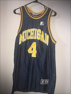 Vintage 90's Starter NCAA Michigan Wolverines Chris Webber Basketball Jersey…